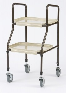 adjustable height teak shelf trolley